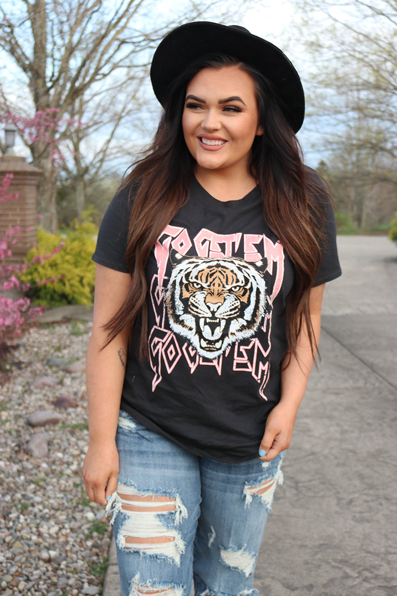 Go Get 'em Tiger Graphic Tee - Black - Barefoot Dreamer