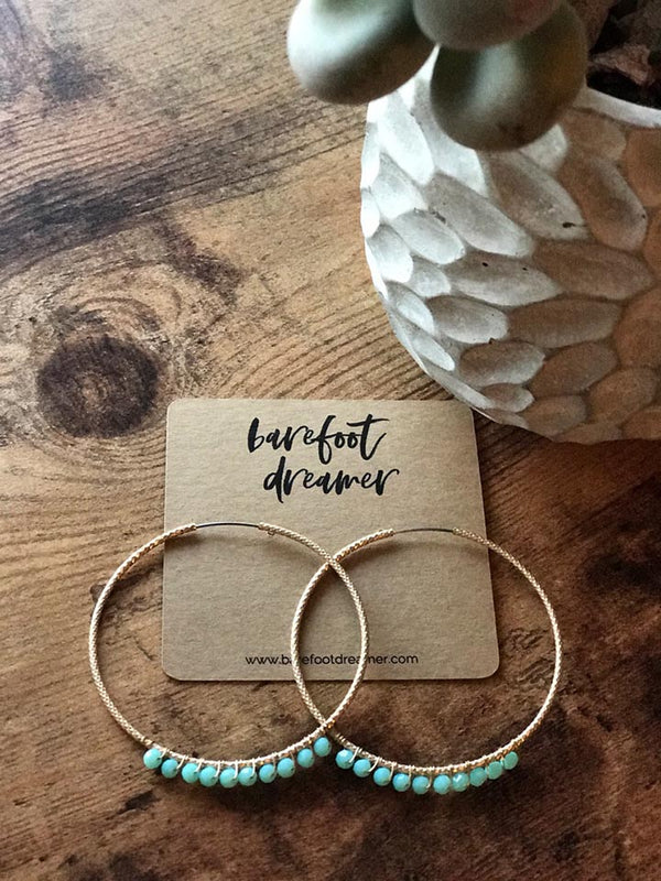 Adele Turquoise Beaded Hoop Earrings - Barefoot Dreamer