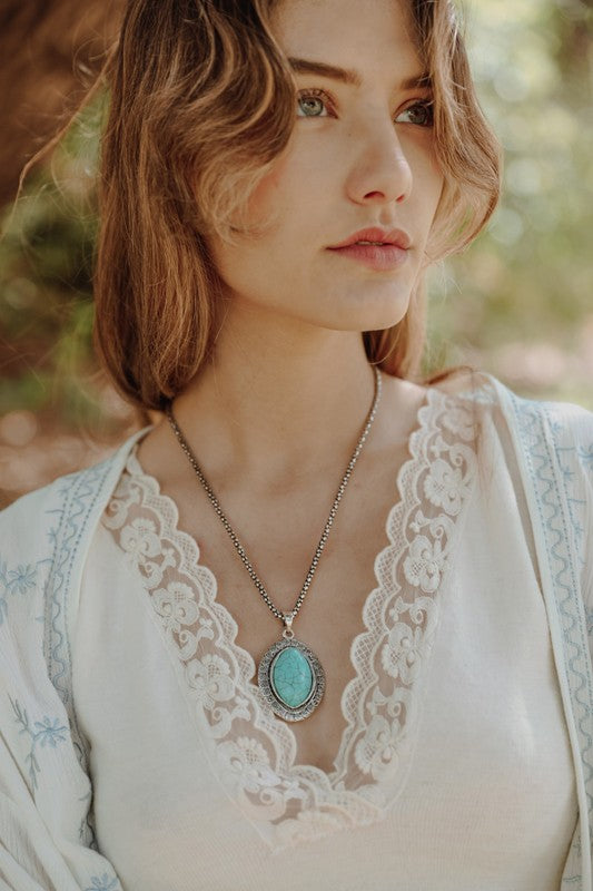 Ophelia Oval Turquoise Pendant Necklace - Barefoot Dreamer