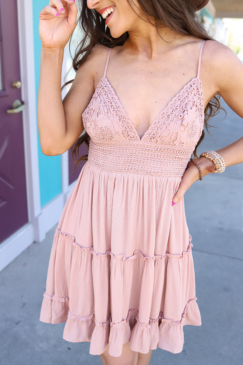 Laylah Crochet Lace Dress - Dusty Rose - Barefoot Dreamer