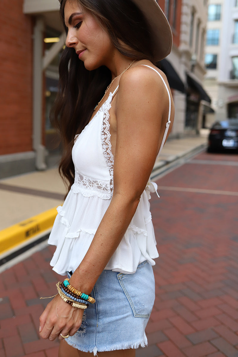 Raylin Crochet and Lace Ruffled Spaghetti Strap Boho Top - Ivory