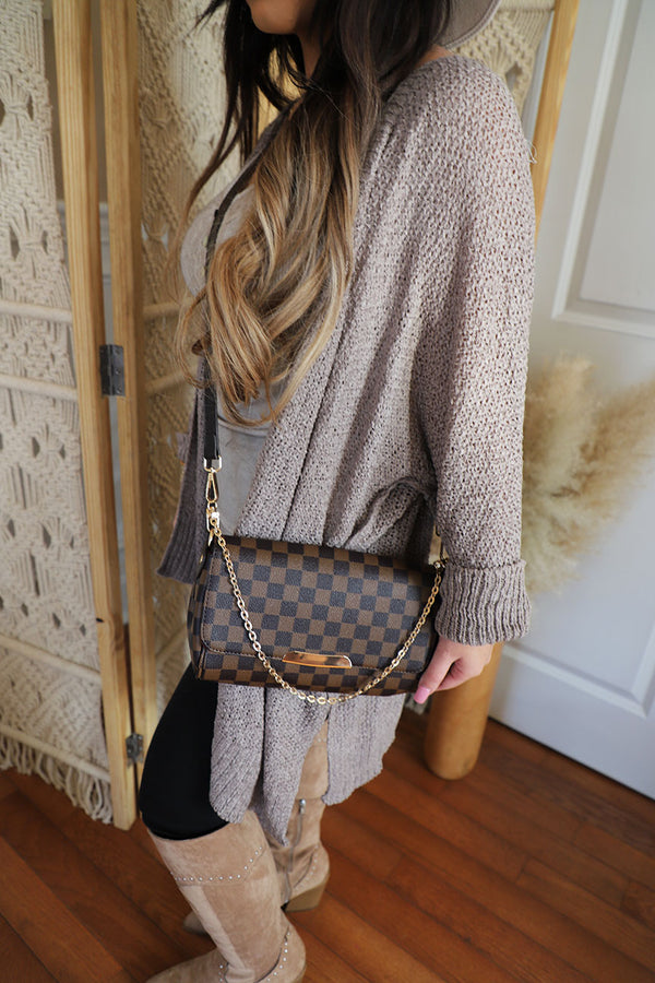 The Luxe Checkered Crossbody- Brown