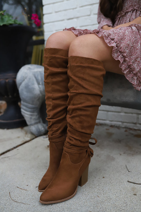 Larissa Slouchy Knee High Chunky Heel  Boot - Cognac Tan