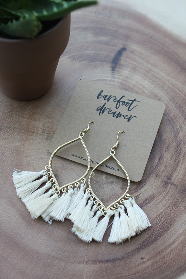 Nico Teardrop Tassel Earrings - Ivory - Barefoot Dreamer