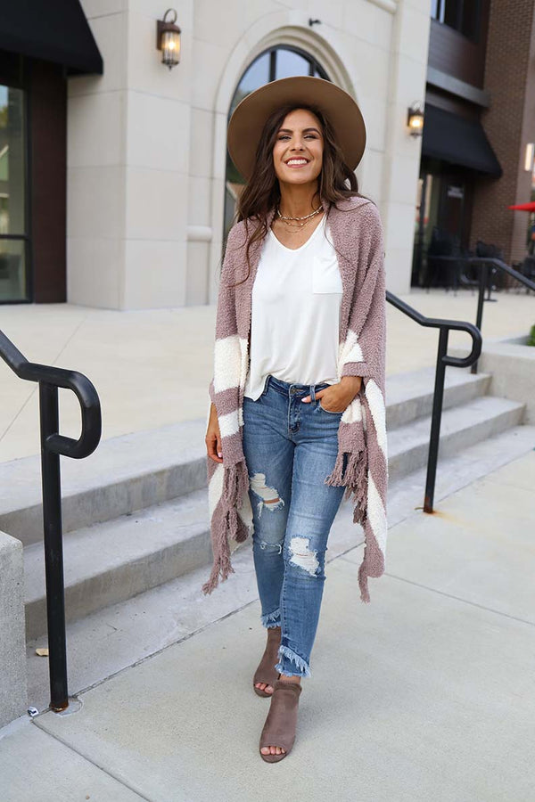Evie Heavy Knit Poncho  Cardigan With Fringe - Taupe and Ivotry