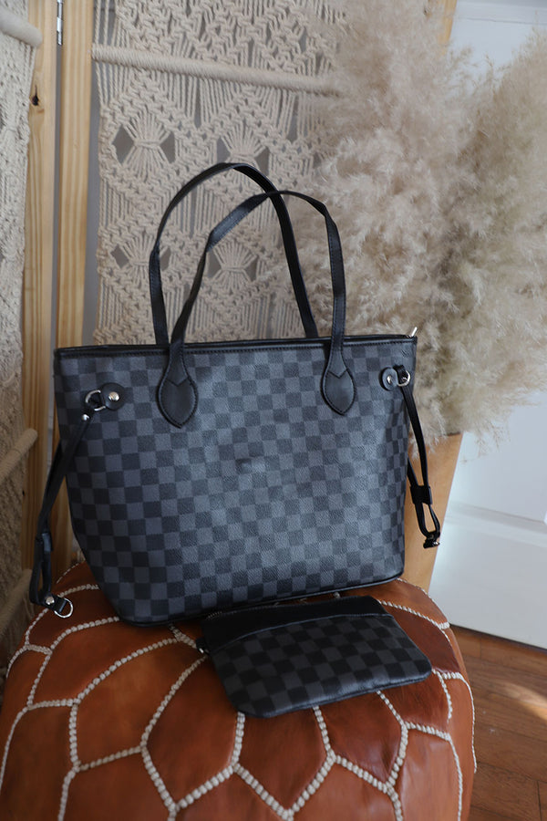 The Luxe Checkered Tote- Black