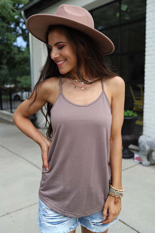 The Lexi Razorback Basic Cami Tank- Taupe