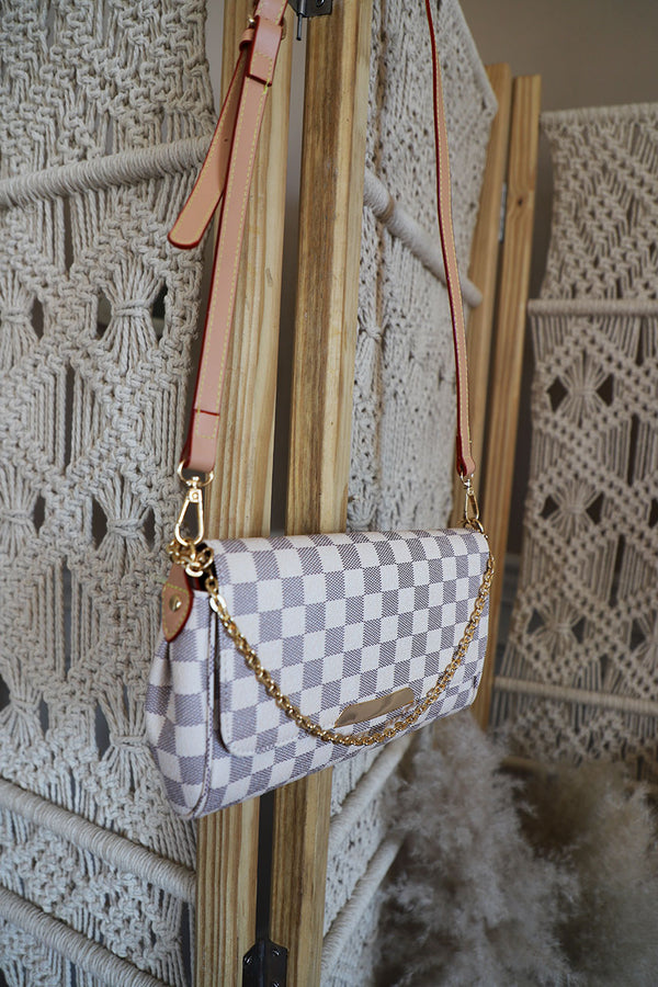 The Luxe Checkered Crossbody- Cream