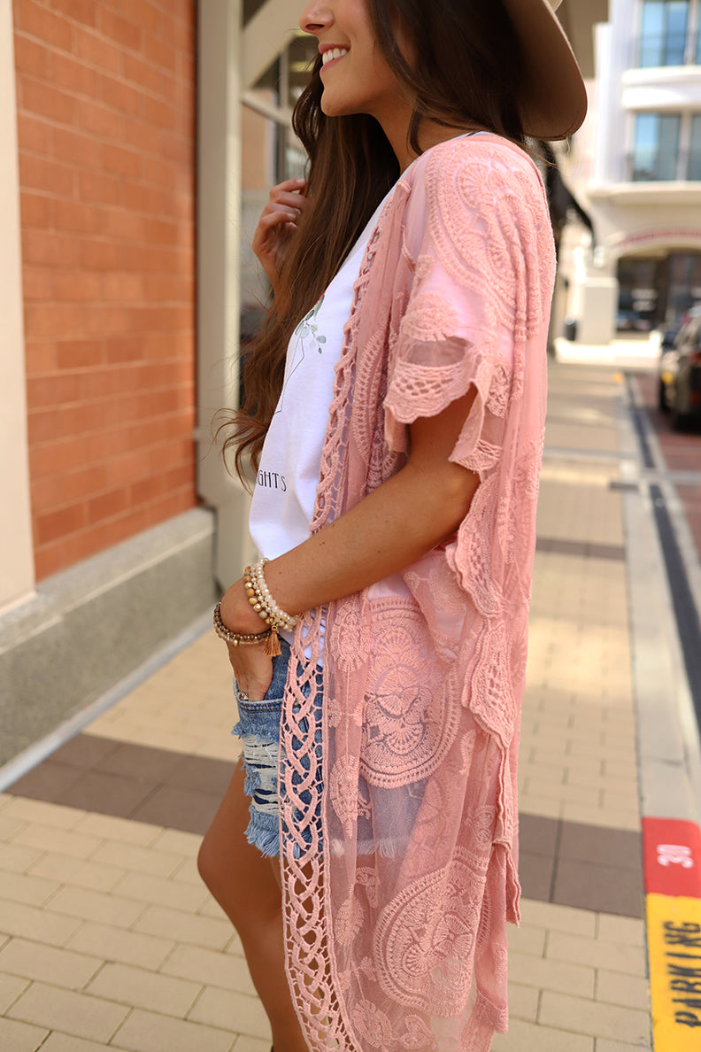 Boho Beautiful Lace Crochet Mandala Kimono - Blush