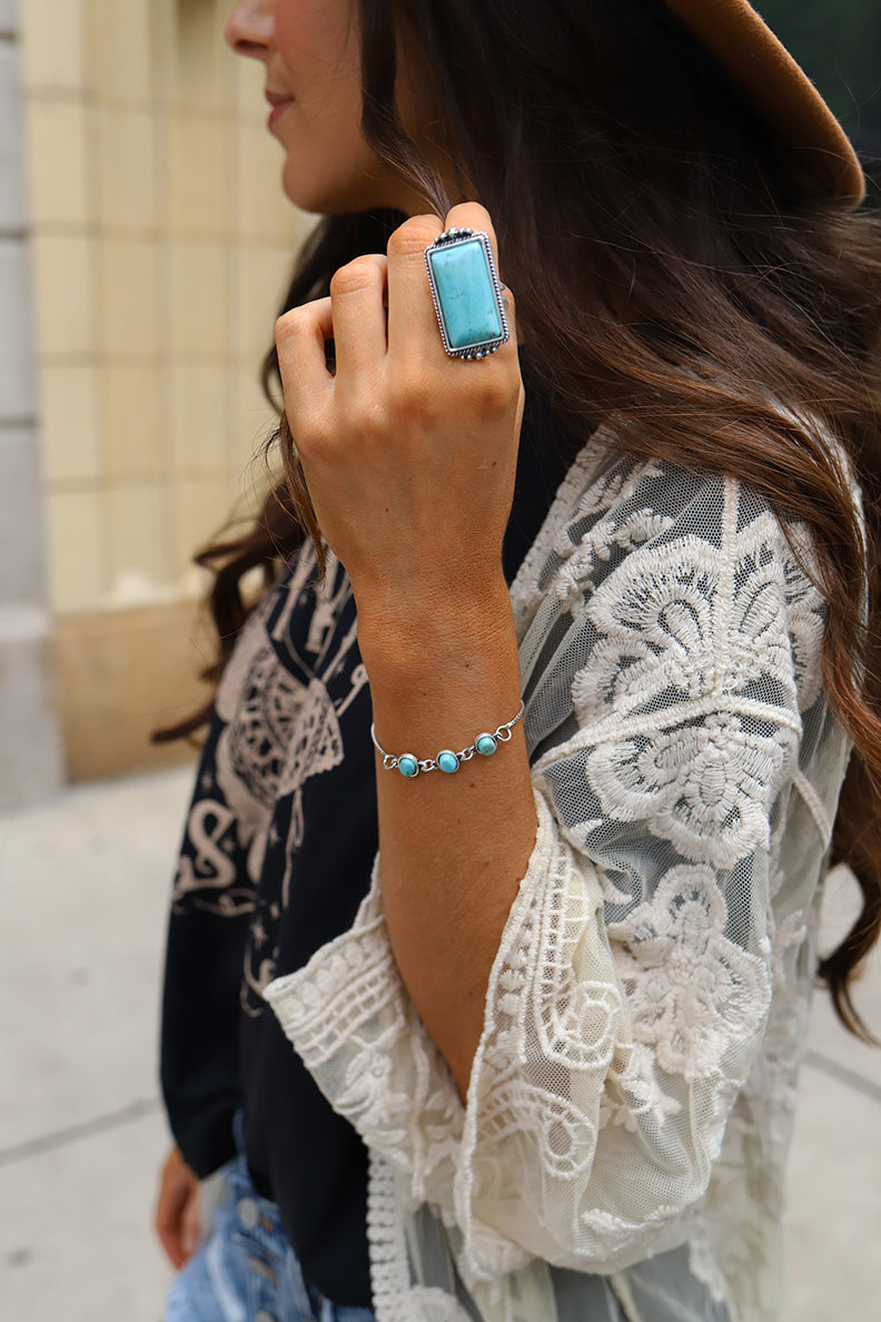 The Eudora Rectangle Turquoise Statement Ring