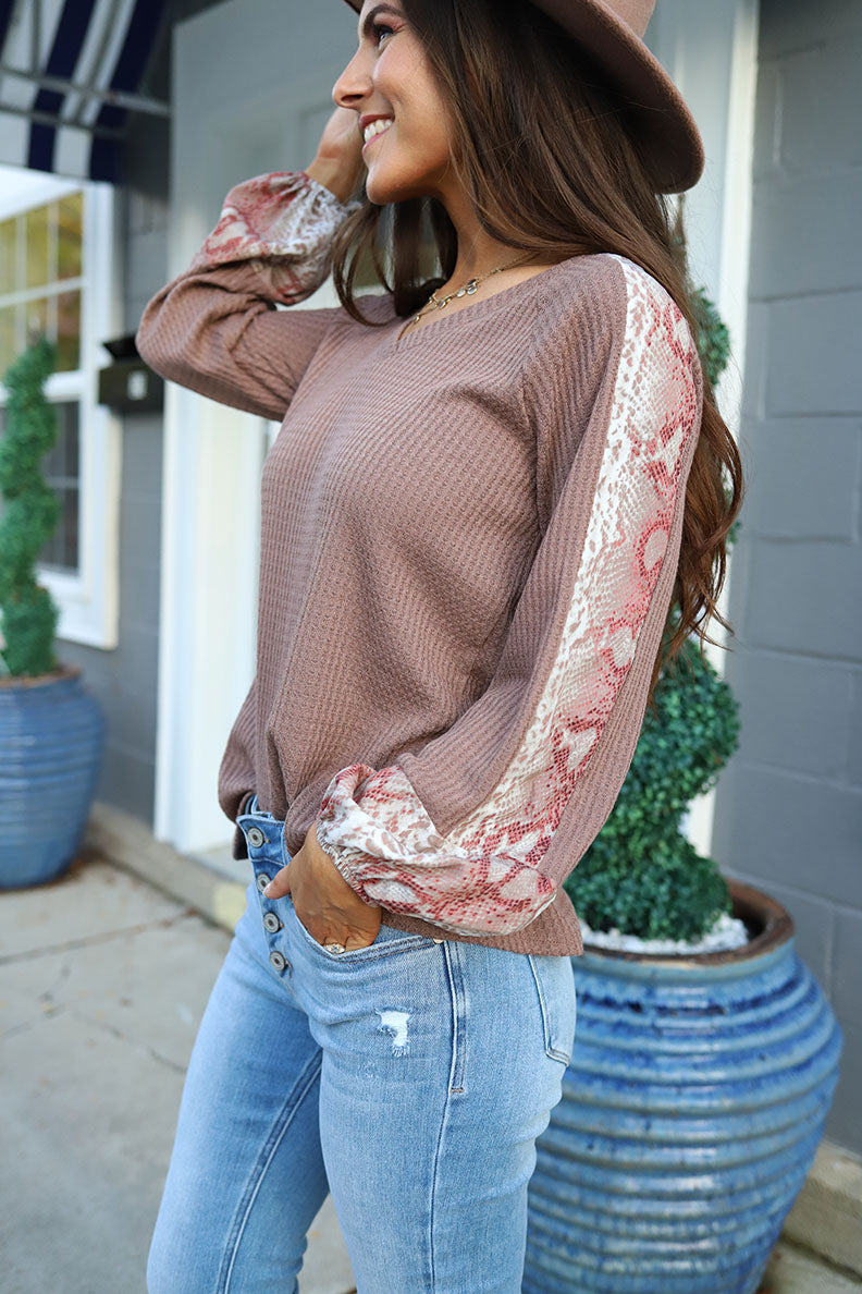 Darya Snakeskin Patterned Contrast Sleeve Waffle Knit Top