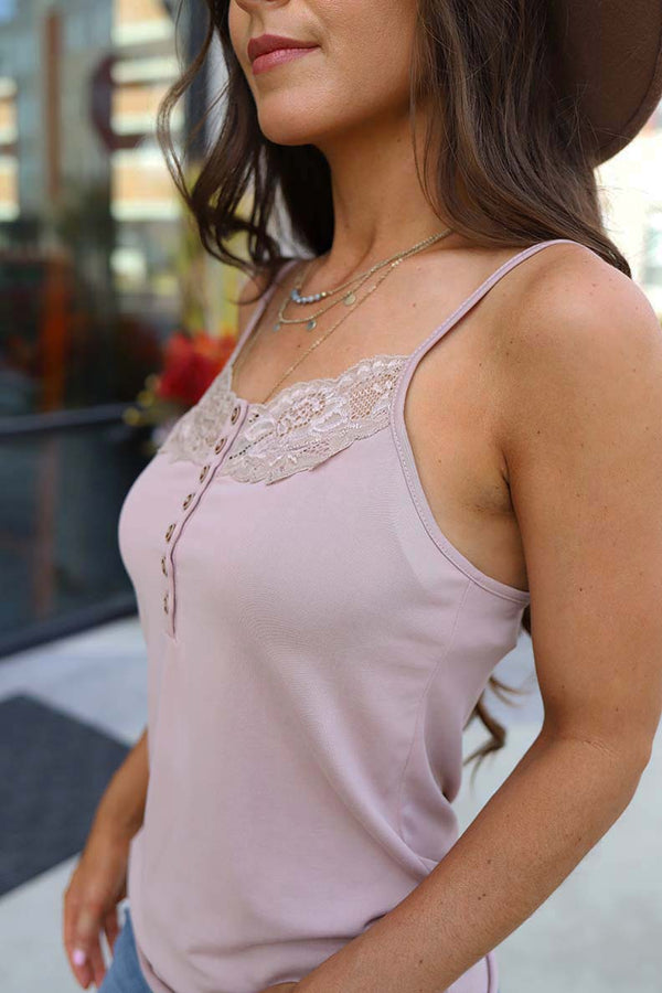 Amari Lace Trim Cami Tank Top - Mauve