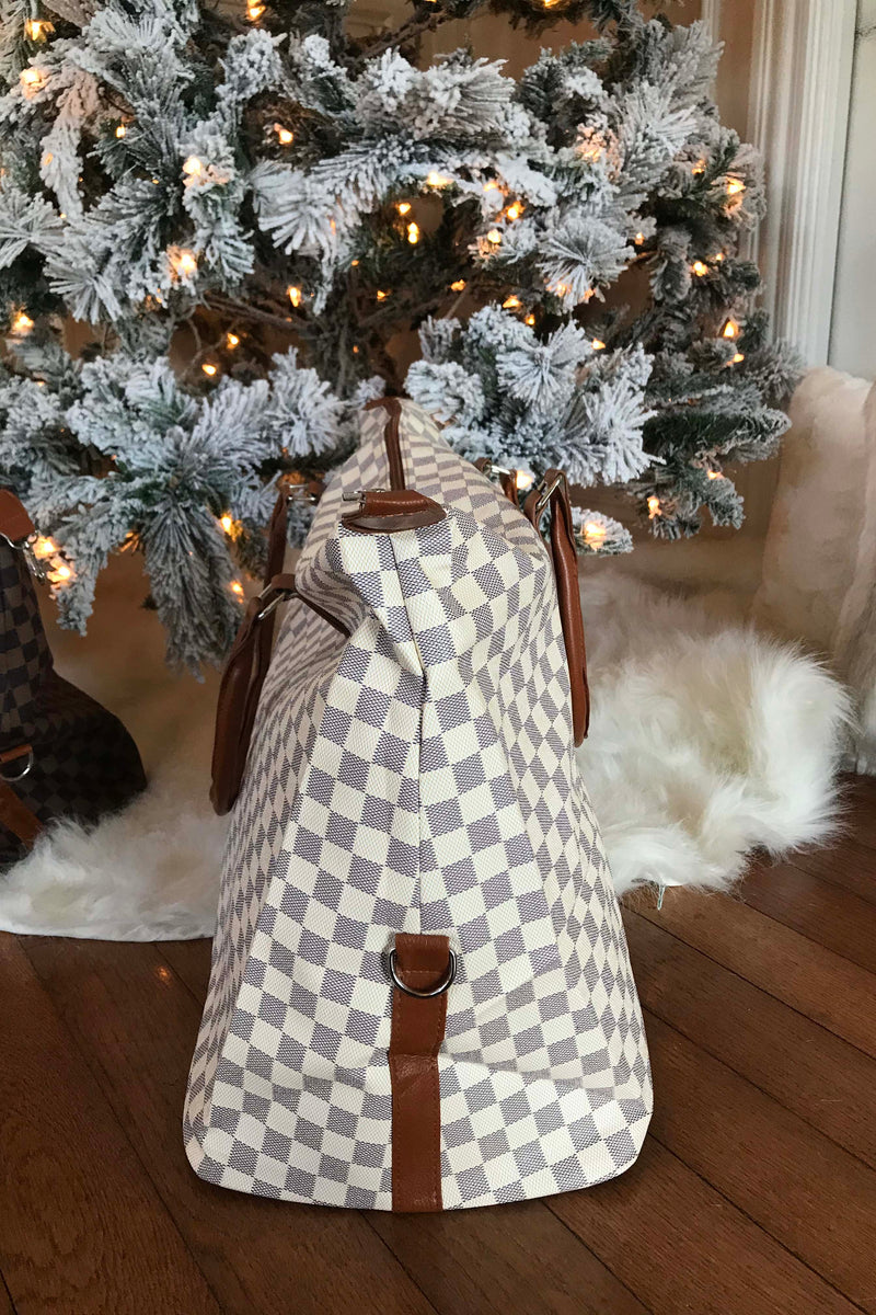 The Luxe Checkered Weekender Bag - Cream