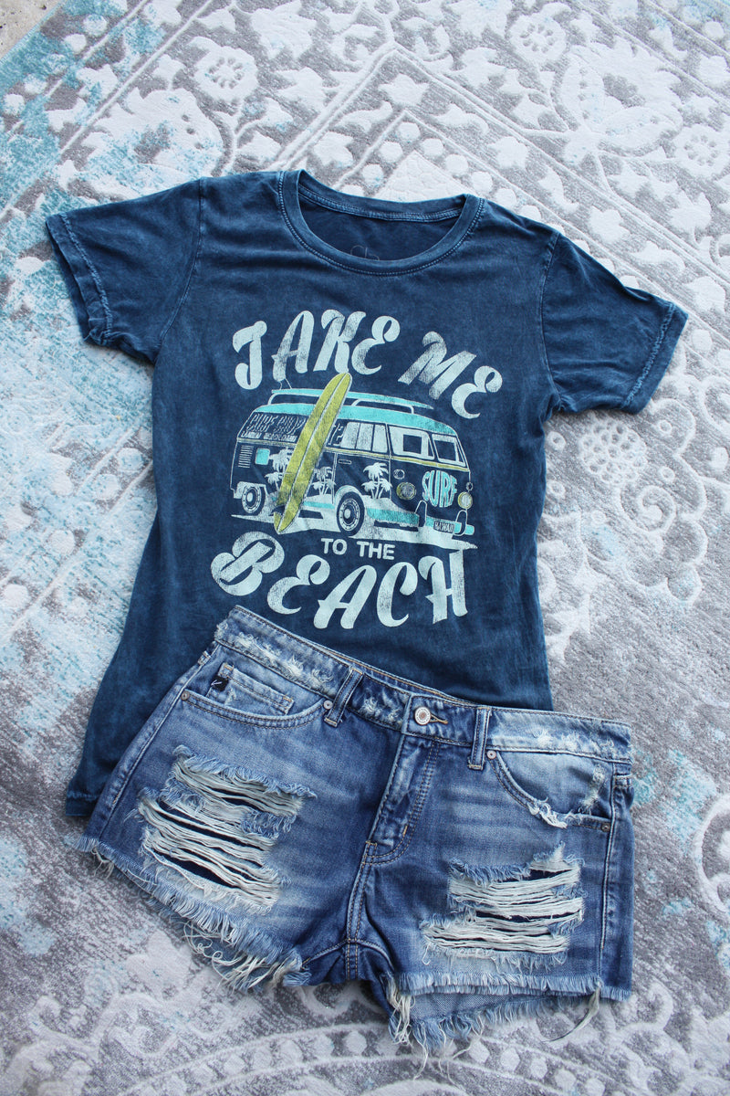 Take Me To The Beach Mineral Wash Graphic Tee - Blue - Barefoot Dreamer