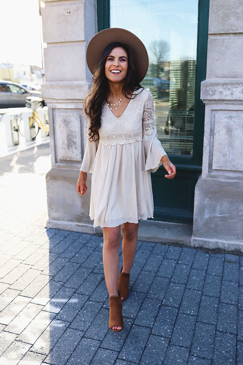 Amoray Boho Lace Bell Sleeve Dress - Taupe - Barefoot Dreamer