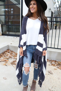Evie Heavy Knit Poncho  Cardigan With Fringe - Grey and Ivory