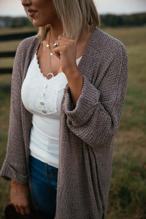 Brielle Slouchy Knit Cardigan- Tan - Barefoot Dreamer
