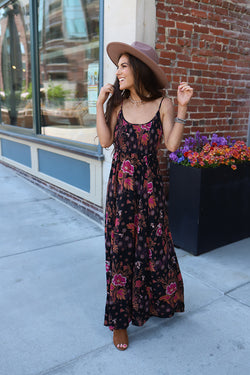 Bohemian Sunrise Floral Printed Smocked Maxi Dress