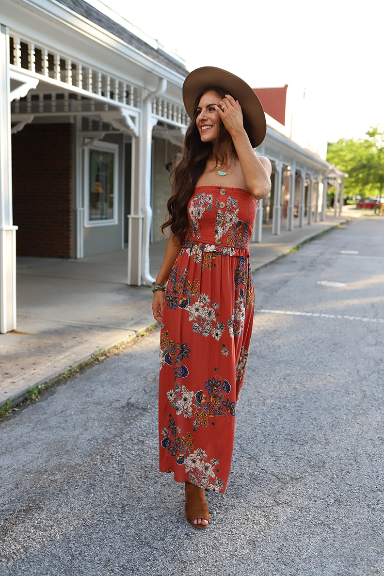 Free and Wild Strapless Floral Printed Maxi Dress