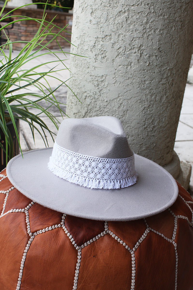 Boho Luxe Wide Brim Crochet Accented Rancher Hat - Grey - Barefoot Dreamer