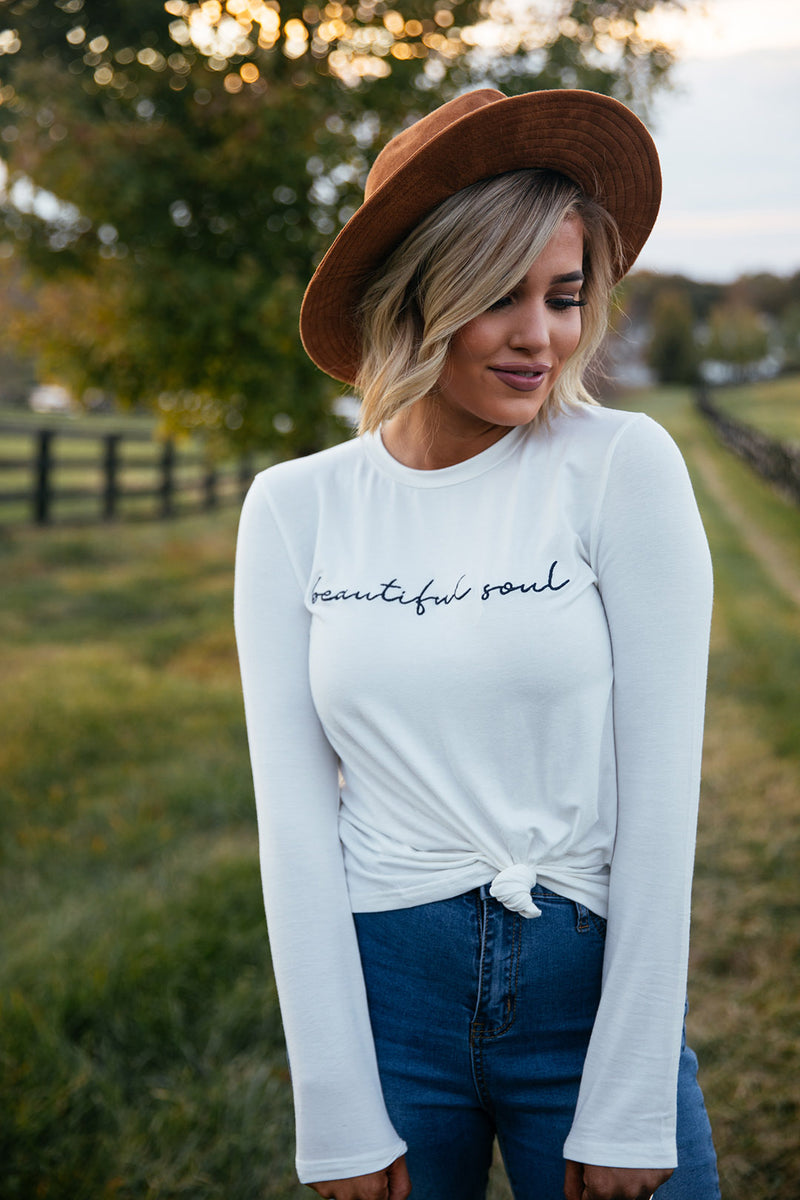 Beautiful Soul Long Sleeved Embroidery Tee - Barefoot Dreamer