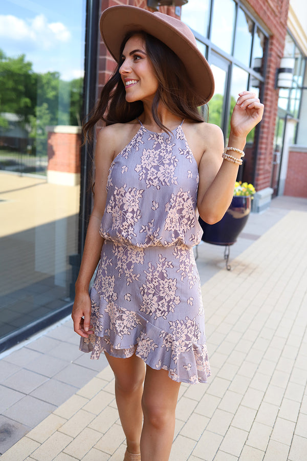 Athena Asymmetrical Floral Lace Ruffle Dress