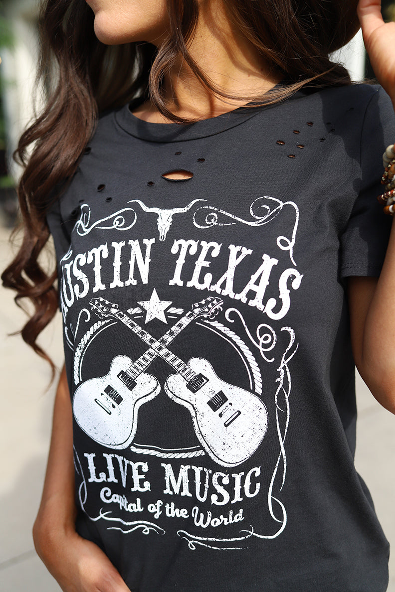 Austin Texas Live Music Distressed Graphic Tee