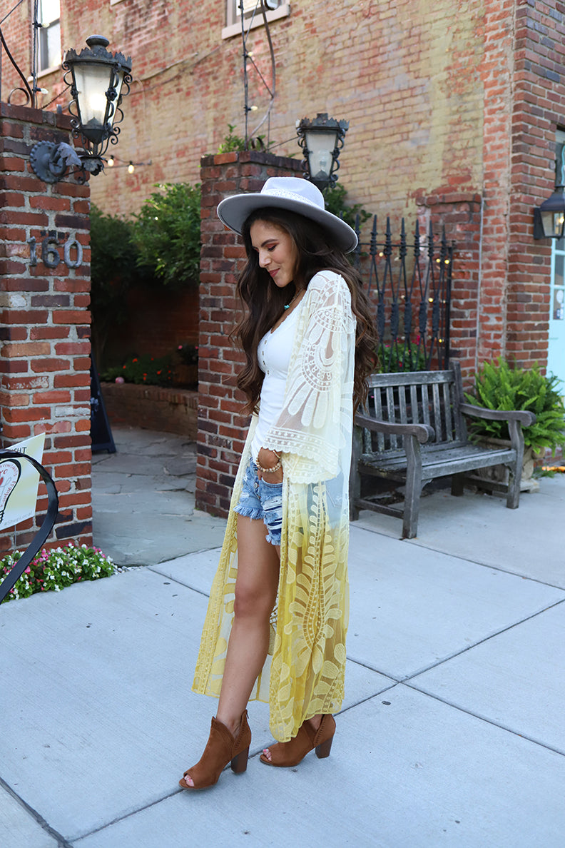 Wild Love Ombre Dip Dyed Lace Bohemian Kimono - Mustard
