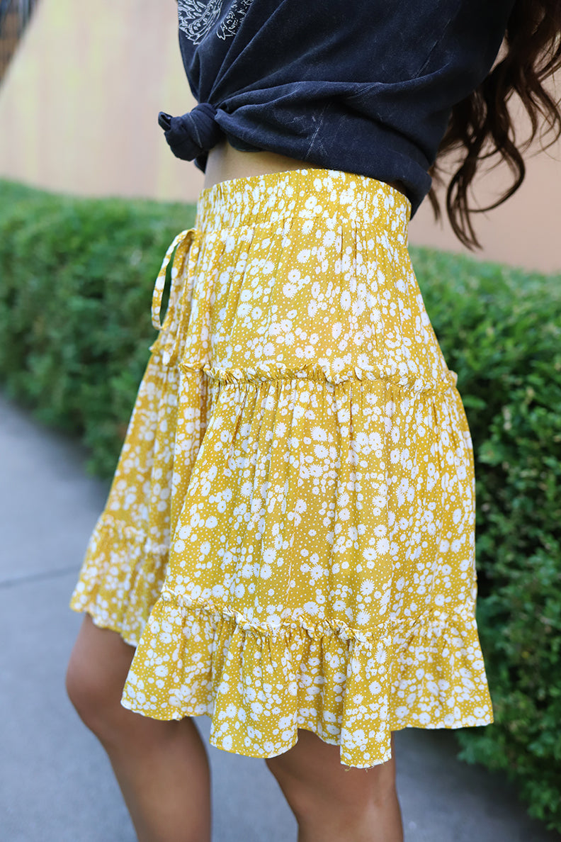 Jayde Floral Ruffled Mini Skirt - Yellow