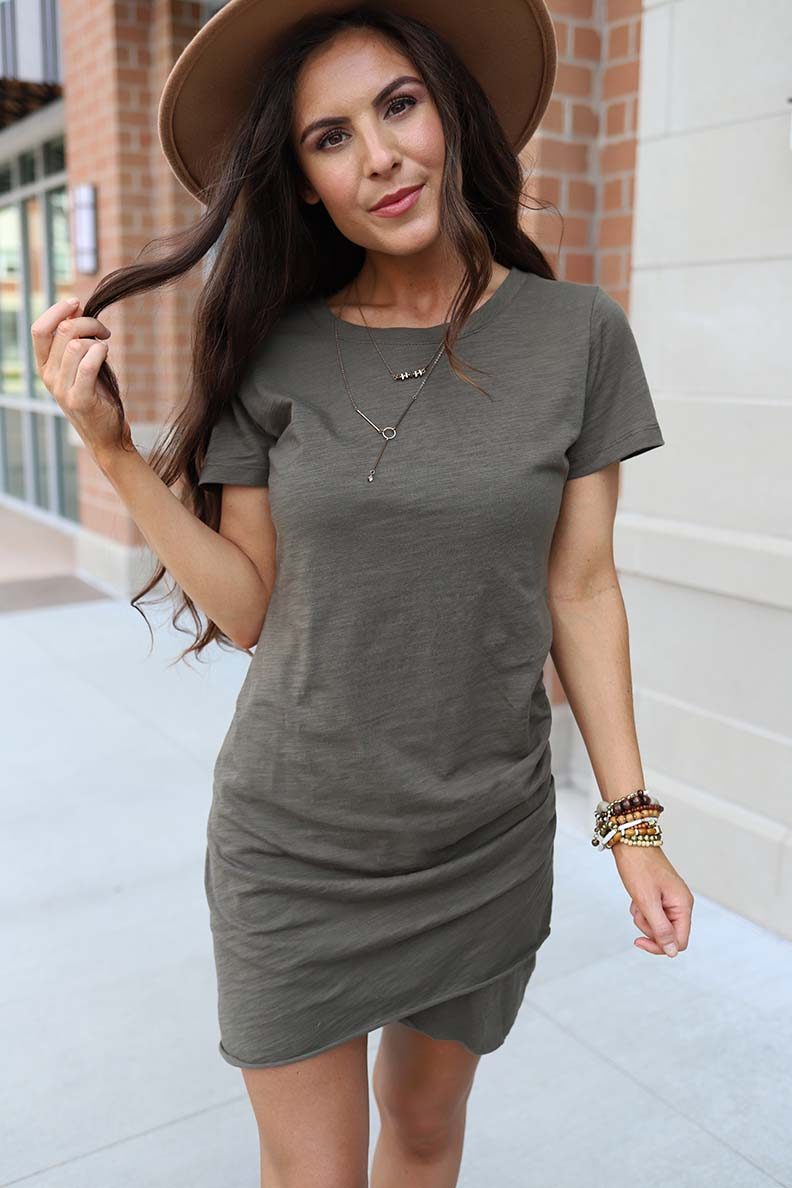 Josie Ruched Tee Shirt Dress - Olive