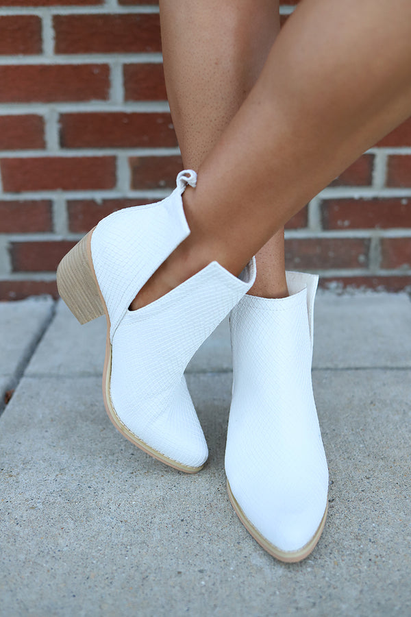 Reagan Snakeskin Ankle Booties - White