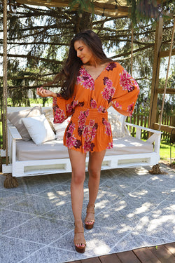 Tropical Nights Smocked Waist Floral Romper Mini Dress - Barefoot Dreamer