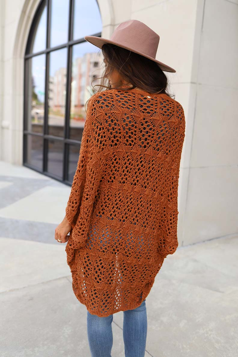 Falling For You Crochet Lace Dolman Sleeve Cardigan - Rust