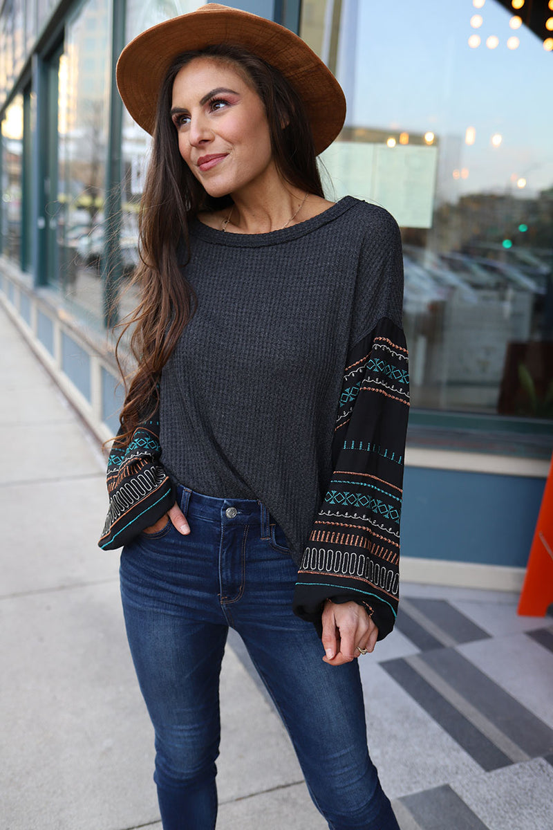 Avril Bubble Sleeve Aztec Top - Barefoot Dreamer