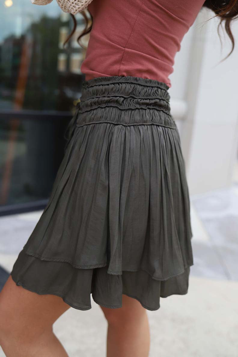 Estella Smocked Layered Skirt - Olive