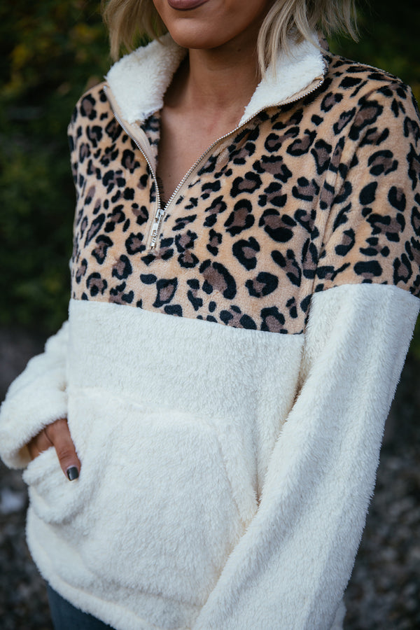 Leopard Print Pullover Sherpa - Ivory - Barefoot Dreamer