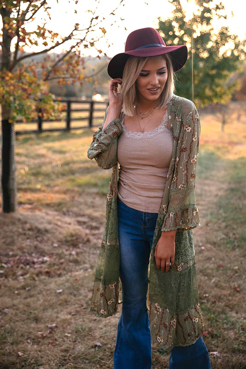 Wildflower Soul Floral Kimono with Lace Trim - Barefoot Dreamer
