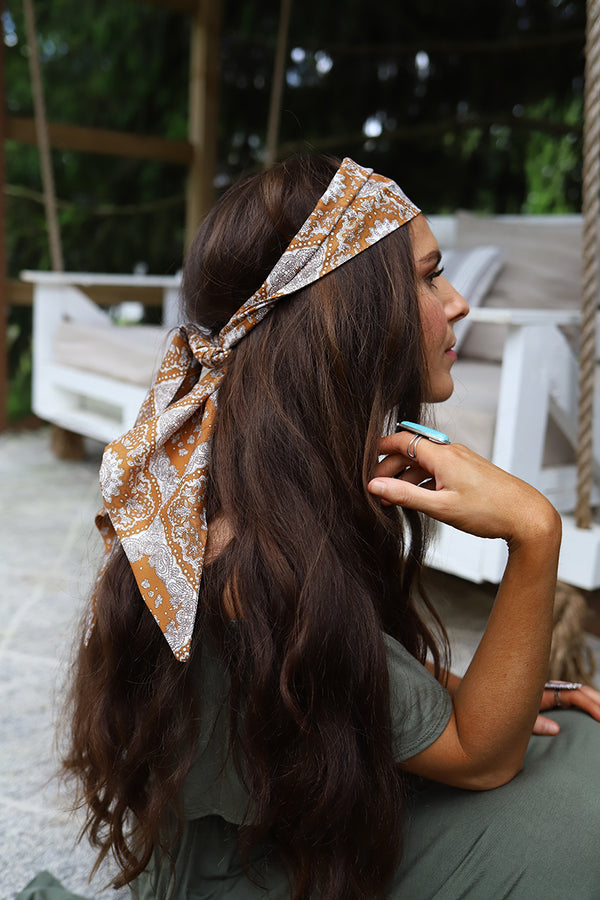 The Bohemia Head Wrap Scarf- Camel