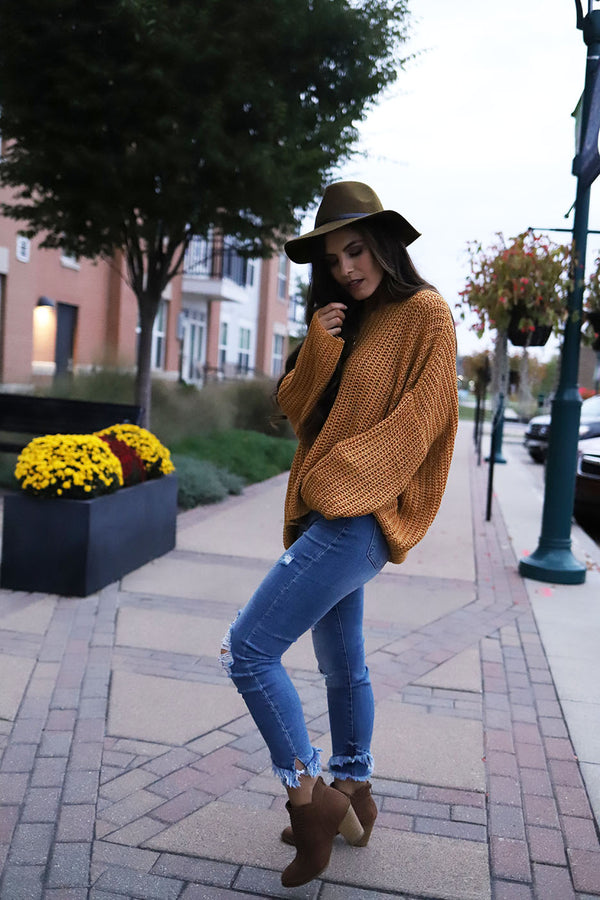 Hunter Pullover Knit Sweater - Mustard - Barefoot Dreamer