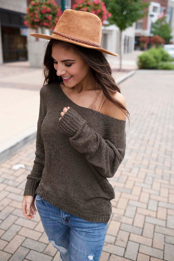 Twisted Soul Open Back Sweater - Olive - Barefoot Dreamer