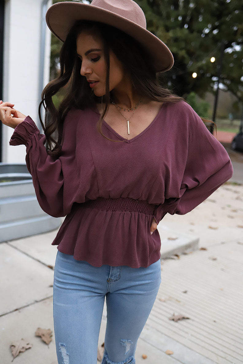 Kiley Long Sleeve Smocked Waist Peplum V-Neck Top - Berry