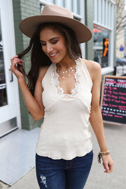 Elyse Lace Trim Halter Tank Top- Ivory - Barefoot Dreamer