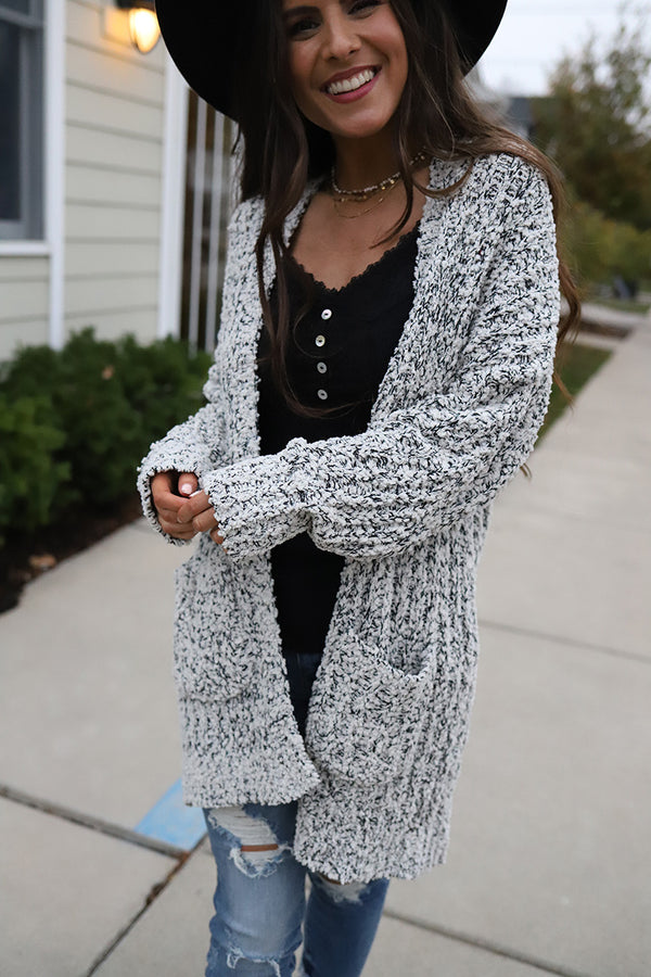 Aspen Heavy Knit Popcorn Cardigan - Black & White