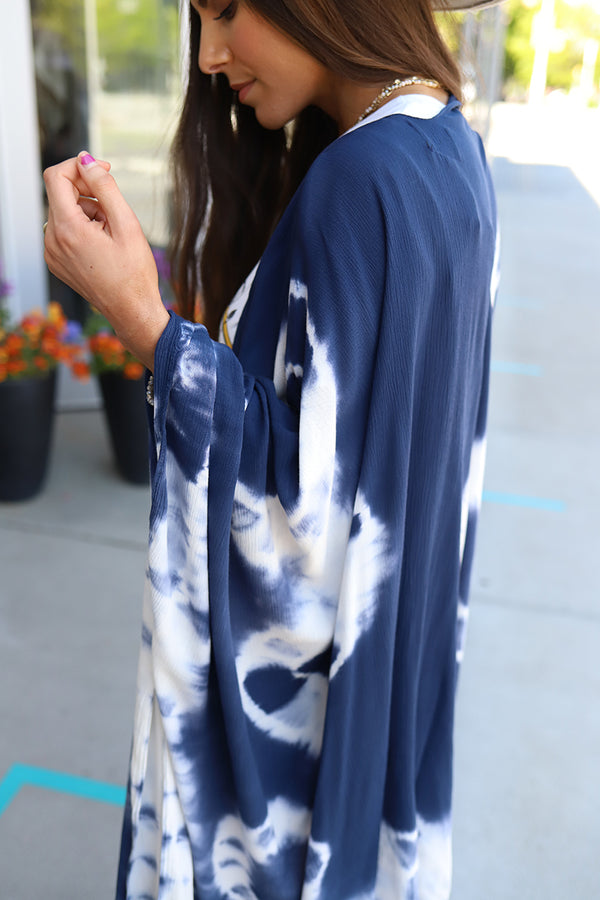Feelin' Free Tie Dye Kimono Swim Cover Up - Navy