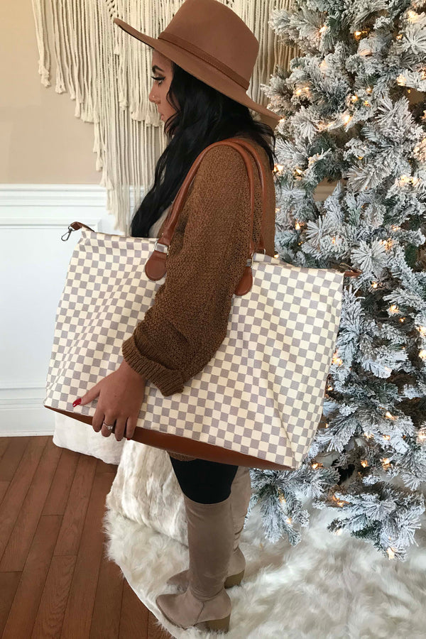 The Luxe Checkered Weekender Bag - White