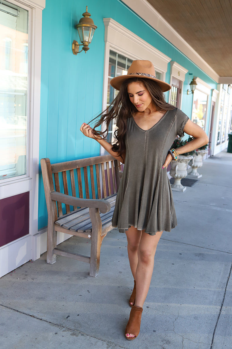 Laney Super Soft Tee Shirt Dress - Olive - Barefoot Dreamer