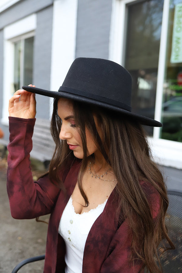 The Drifter Wide Brim Panama Hat -Black