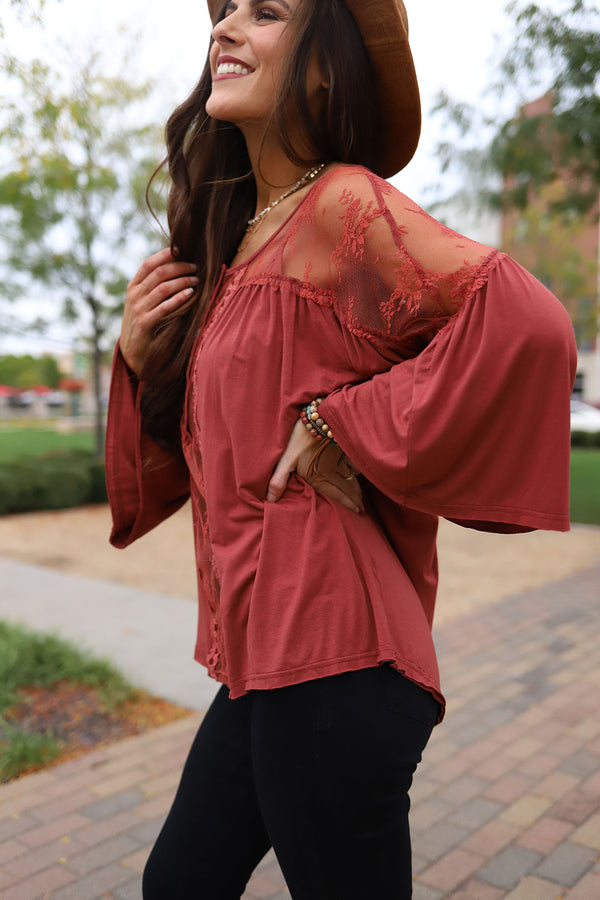 Skyenne Lace Bohemian Top - Brick