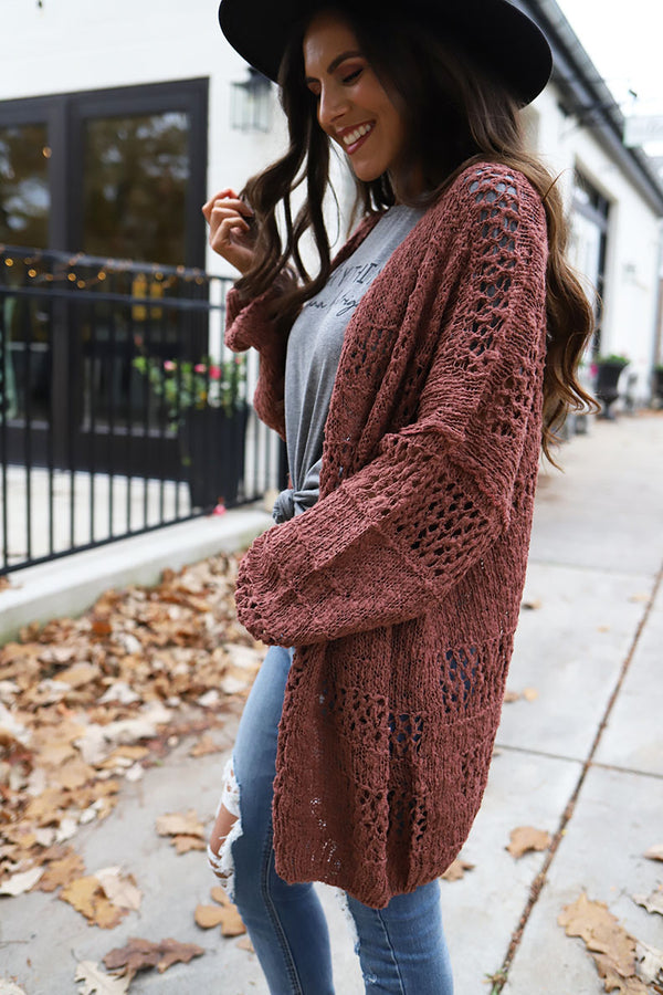 Emberly Crochet Slouchy Sleeve Knit Cardigan - Marsala