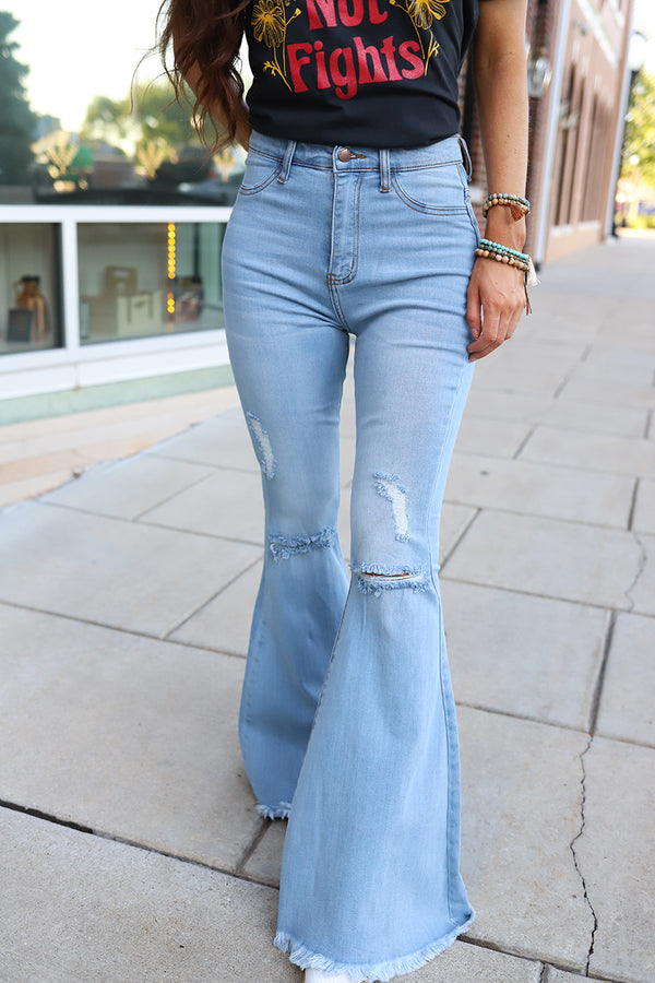 Groovy Babe High Rise Distressed Bell Bottoms - Lightwash